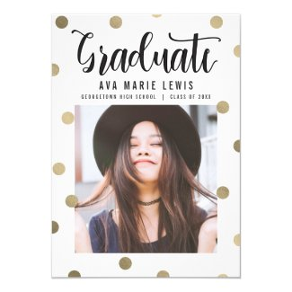 Charming Dots Faux Foil Graduation Announcement