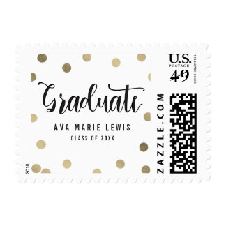 Charming Dots Faux Foil Graduation Postage