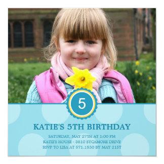 "Charming Dots Photo Birthday Invitation (Blue) 5.25"" Square Invitation Card"