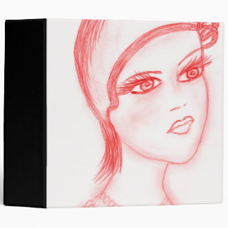 Charming Flapper in Bright Red 3 Ring Binder