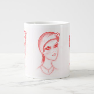 Charming Flapper in Bright Red Giant Coffee Mug