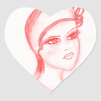 Charming Flapper in Bright Red Heart Sticker