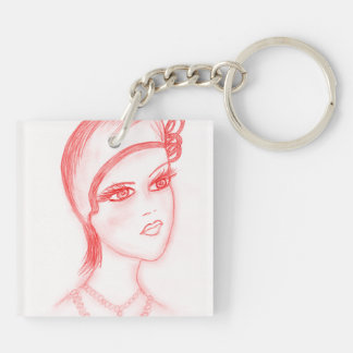 Charming Flapper in Bright Red Keychain