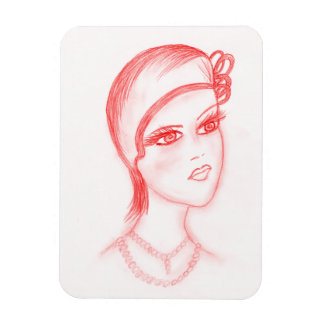 Charming Flapper in Bright Red Magnet