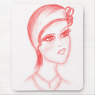 Charming Flapper in Bright Red Mouse Pad