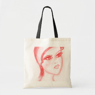 Charming Flapper in Bright Red Tote Bag