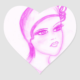 Charming Flapper in Hot Pink Heart Sticker