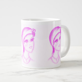Charming Flapper in Hot Pink Large Coffee Mug