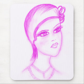 Charming Flapper in Hot Pink Mouse Pad