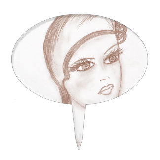 Charming Flapper in Sepia Cake Topper