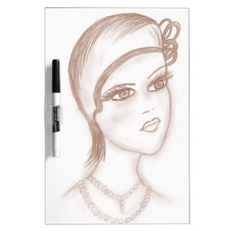Charming Flapper in Sepia Dry Erase Board