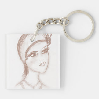 Charming Flapper in Sepia Keychains