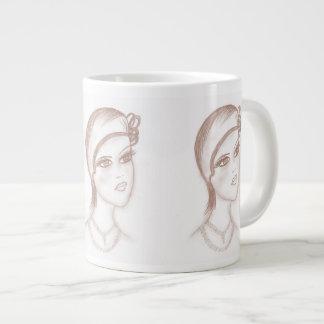 Charming Flapper in Sepia Large Coffee Mug