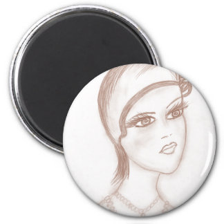 Charming Flapper in Sepia Magnet