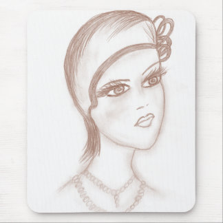 Charming Flapper in Sepia Mouse Pad