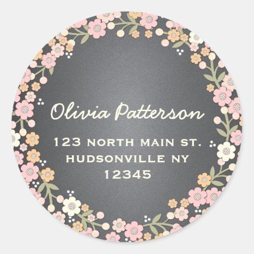 Charming Garden Floral Wreath Address Sticker