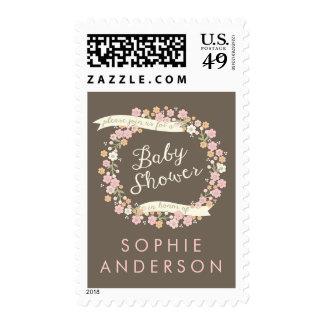 Charming Garden Floral Wreath Baby Shower Stamp