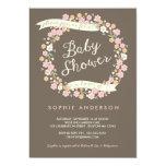 Charming Garden Floral Wreath Girl Baby Shower Card
