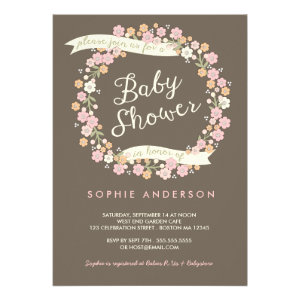 Charming Garden Floral Wreath Girl Baby Shower Custom Invitations