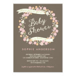 Charming Garden Floral Wreath Girl Baby Shower 5x7 Paper Invitation Card