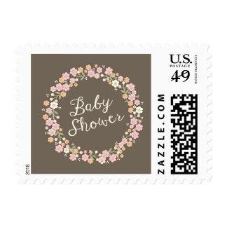 Charming Garden Floral Wreath Girl Baby Shower Stamp