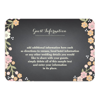 Charming Garden Floral Wreath II Wedding Info Card