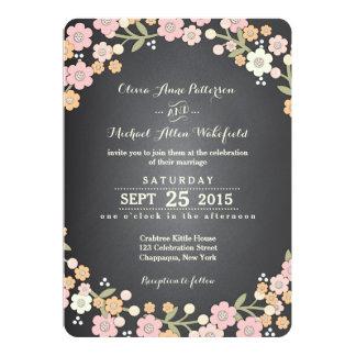 """Charming Garden Floral Wreath II Wedding 5"""" X 7"""" Invitation Card"""