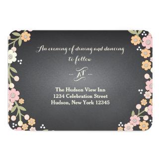 """Charming Garden Floral Wreath II Wedding Reception 3.5"""" X 5"""" Invitation Card"""