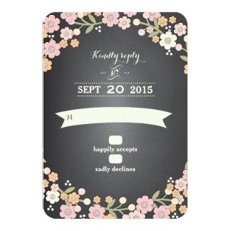 Charming Garden Floral Wreath II Wedding RSVP Card