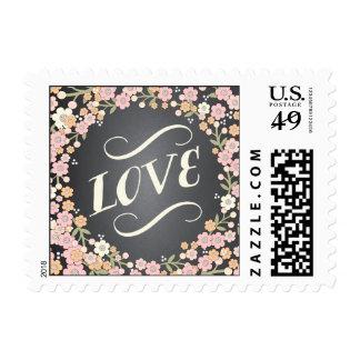 Charming Garden Floral Wreath LOVE Wedding Postage