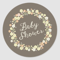 Charming Garden Floral Wreath Neutral Baby Shower Classic Round Sticker
