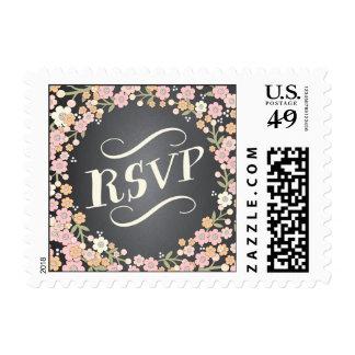 Charming Garden Floral Wreath RSVP Wedding Postage