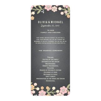 "Charming Garden Floral Wreath Wedding Program 4"" X 9.25"" Invitation Card"