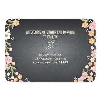Charming Garden Floral Wreath Wedding Reception 3.5x5 Paper Invitation Card