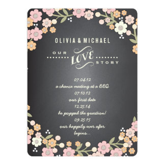 Charming Garden Floral Wreath Wedding Story Card