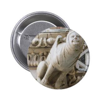 Charming Gargoyle on Medieval Buildings Pinback Button