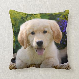 Charming Goldie Cute Puppy Portrait, Square Pillow