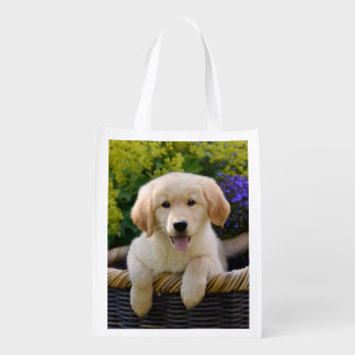 Charming Goldie Dog Cute Puppy Photo, reuseable Grocery Bag