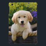 """Charming Goldie Dog Puppy, tablet cover iPad Mini Case<br><div class=""""desc"""">A cute young puppy-eyed Golden Retriever dog in a wicker basket amidst flowers in a garden. This iPad savvy mini case is an enchanting gift idea for doglovers. A cutie young Goldie puppy photographed by Katho Menden. http://www.zazzle.com/kathom_photo</div>"""