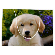 Charming Goldie Retriever Dog Puppy Photo Wrapbag Large Gift Bag