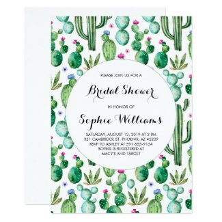 Charming Green Watercolor Cacti Bridal Shower Invitation