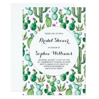 Charming Green Watercolor Cacti Bridal Shower Invitation