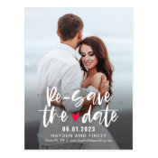 Charming Heart EDITABLE COLOR Re-Save The Date Postcard