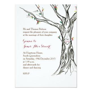 Charming Holly Tree Invitation