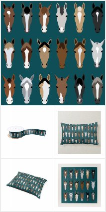 Charming Horse Faces Illustration on Turquoise