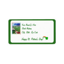 Charming Ireland Coast Collie and Flock of Sheep Label