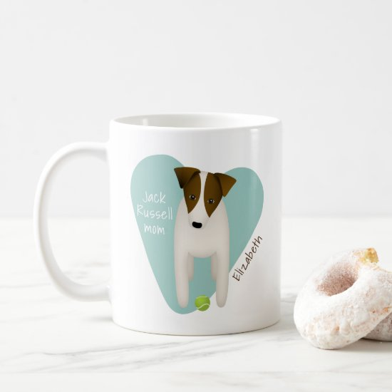 charming Jack Russell w lt teal heart terrier mom Coffee Mug