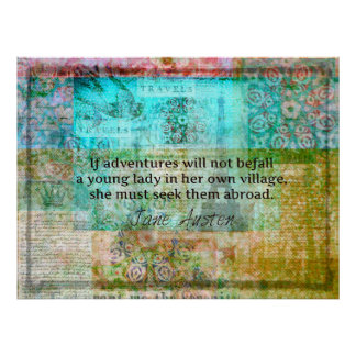 Charming Jane Austen quote adventure and travel Poster