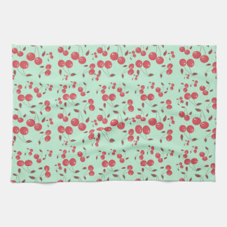 Charming Kitsch Cherries on Jadite Kitchen Towel