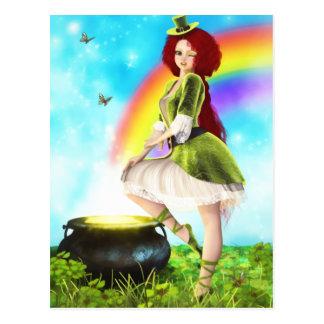 Charming Leprechaun Lass Postcard